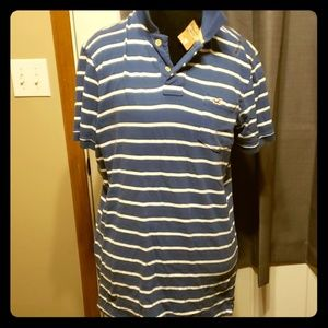 Hollister Shirts - Holister blue and white striped polo nwt